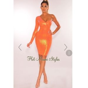 Tangerine One Sleeve Midi Dress.